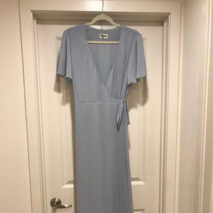 Show Me Your Mumu Noelle Wrap Dress, Steel Blue